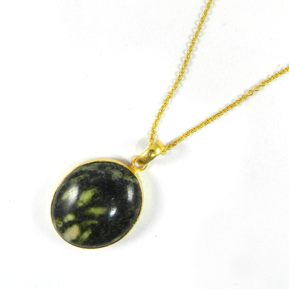 Green Cola Round 38mm 18k Gold Plated Bezel Pendant