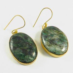 Green Mike Aventurine 18k Gold Plated Bezel Earring