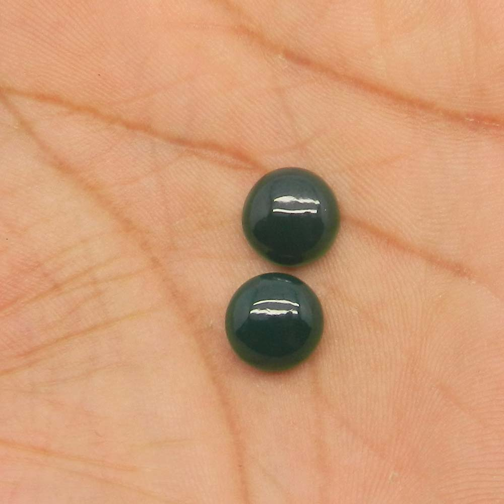 Green Onyx 10mm Round Cabochon 3.95 Cts
