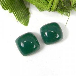 Green Onyx 10x10mm Cushion Cabochon 4.60 Cts