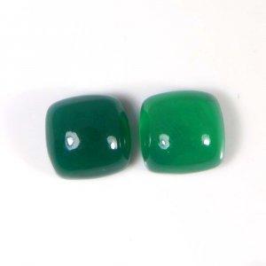 Green Onyx 10x10mm Cushion Cabochon 8.9 Cts