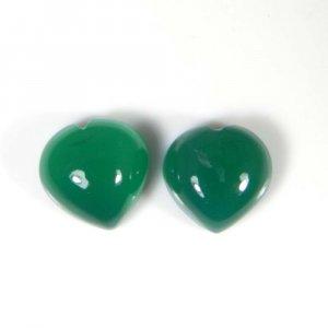 Green Onyx 10x10mm Heart Cabochon 7.4 Cts