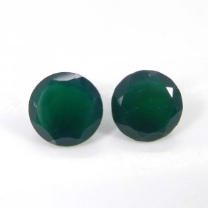 Green Onyx 10x10mm Round Faceted Cut 6.9 Cts