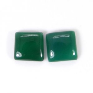 Green Onyx 10x10mm Square Cabochon 6.9 Cts