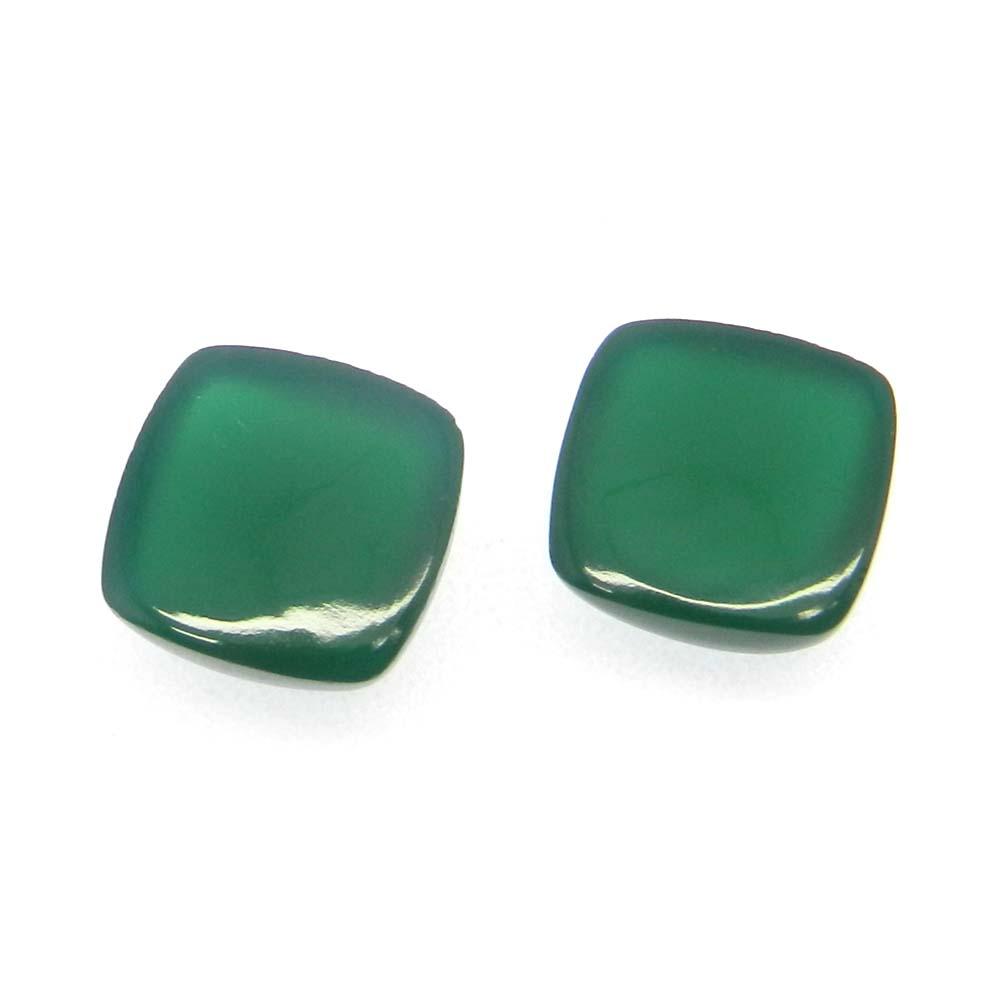 Green Onyx 10x10mm Square Cushion Cab 4.45 Cts