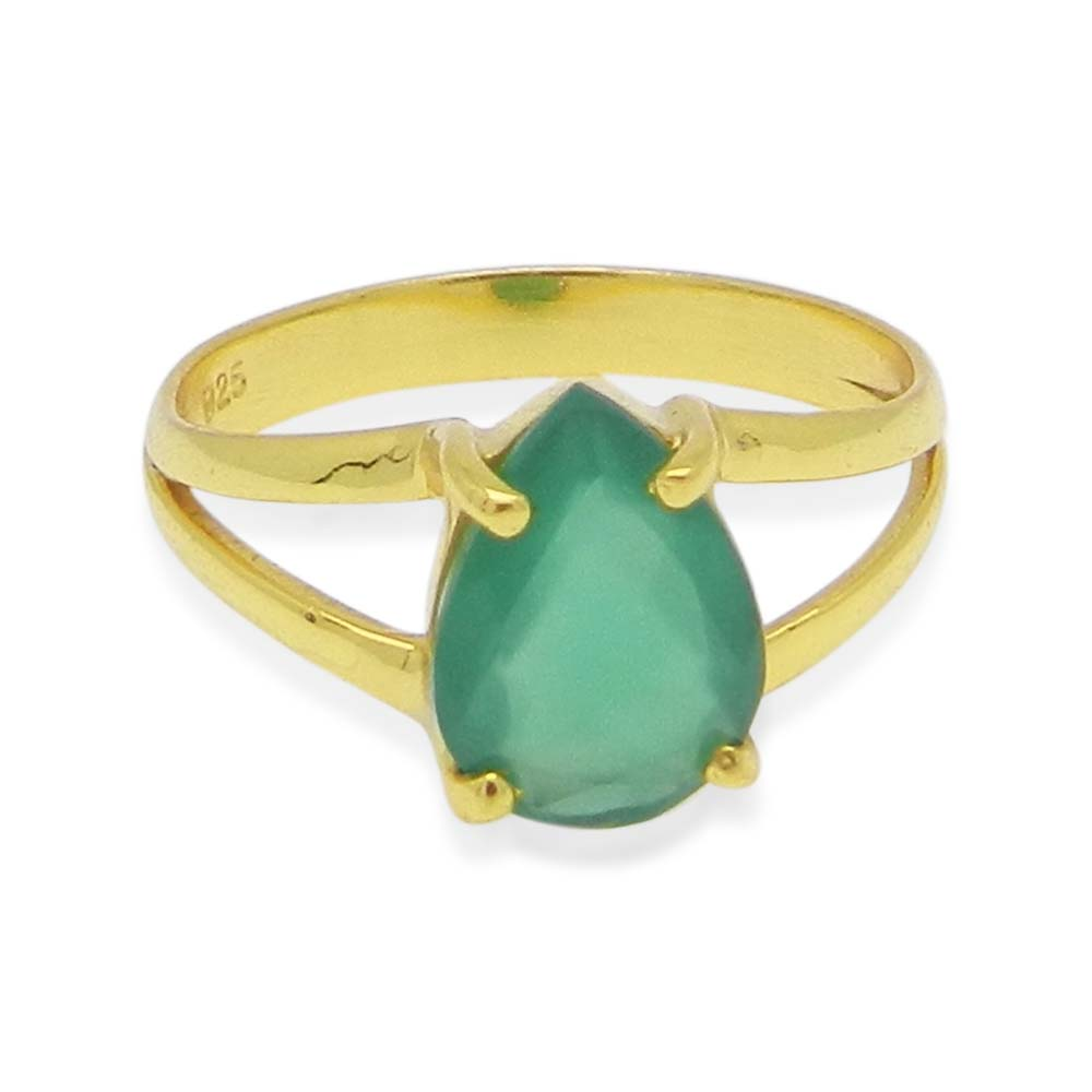 Green Onyx 10x7mm Pear 18k Gold Plated Silver Prong Set Ring