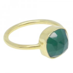 Green Onyx 11x11mm Cushion 925 Silver With Gold Plated Bezel Set Ring