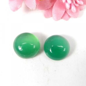 Green Onyx 11x11mm Round Cabochon 4.65 Cts