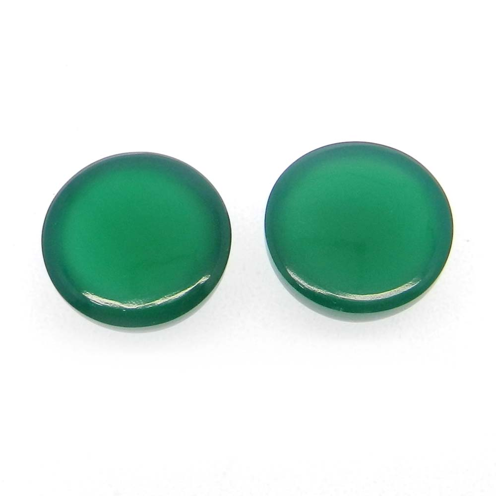 Green Onyx 12mm Round Cabochon 6.45 Cts