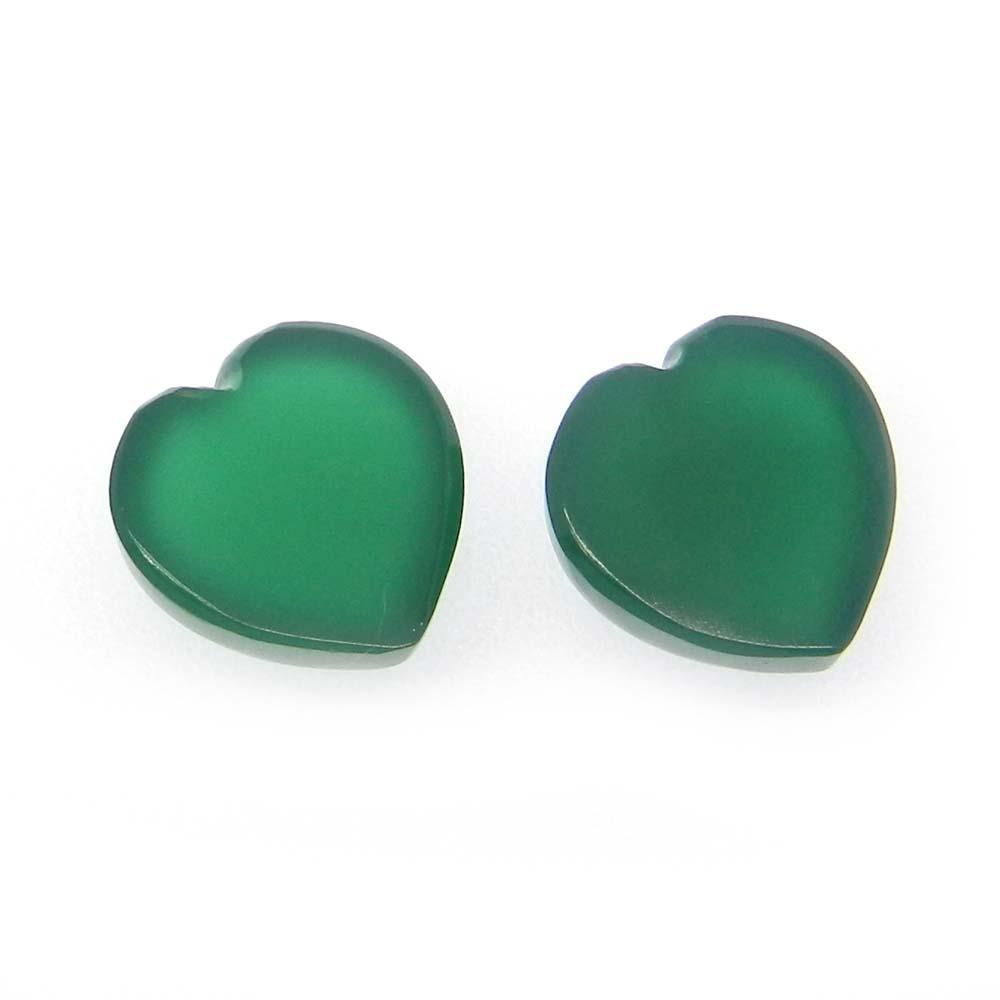 Green Onyx 12X12mm Heart Cabochon 6.65 Cts