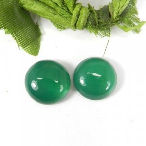 Green Onyx 12x12mm Round Cabochon 4.95 Cts