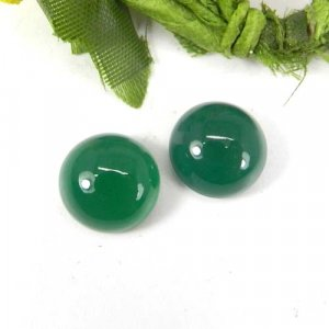 Green Onyx 12x12mm Round Cabochon 6.45 Cts