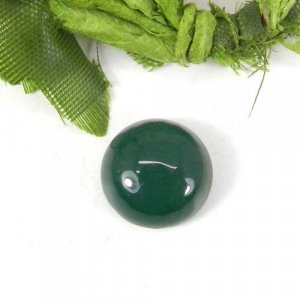 Green Onyx 13x13mm Round Cabochon 4.10 Cts