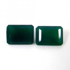 Green Onyx 14x10mm Octagon Faceted Cut 12.3 Cts