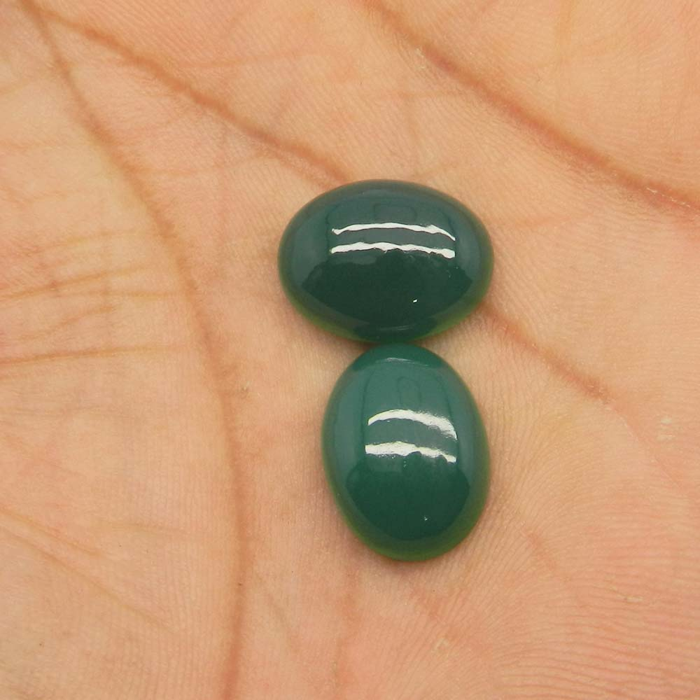 Green Onyx 16x12mm Oval Cabochon Cab 9.2 Cts