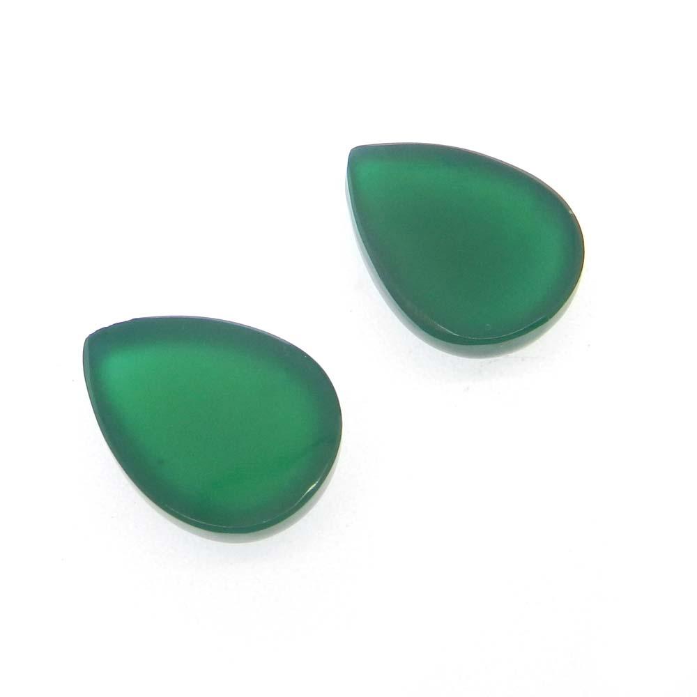 Green Onyx 16x12mm Pear Cabochon 8.85 Cts