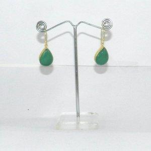 Green Onyx 18k Gold plated Bezel Earring