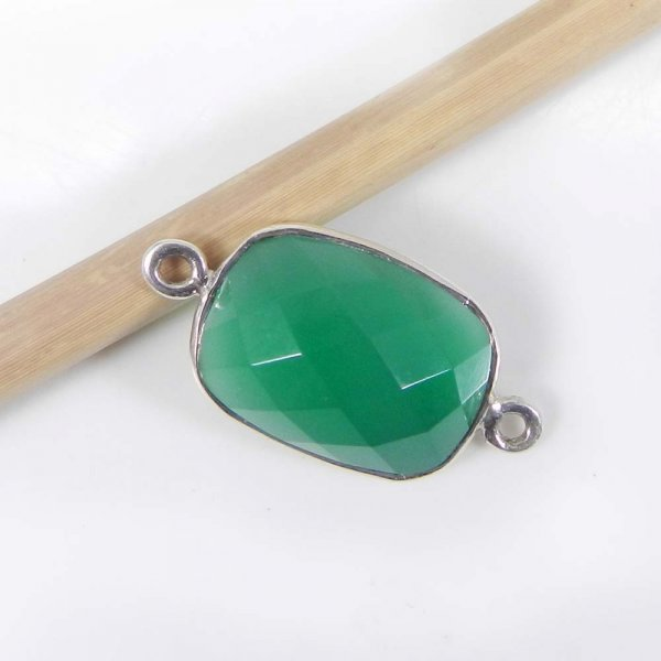 Green Onyx 21x11mm Rectangle Silver Double Loop Connector