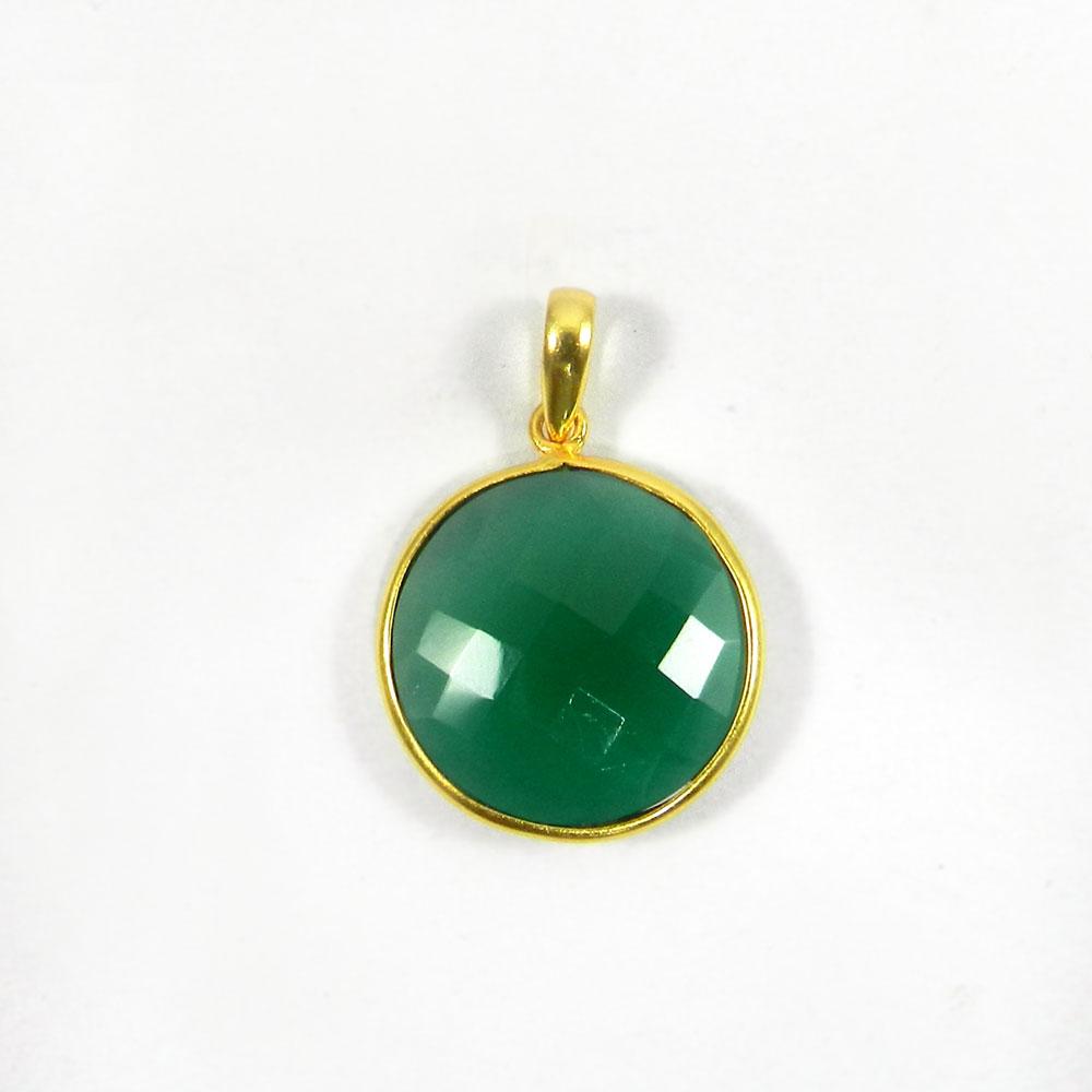 Green Onyx 31mm 18k Gold Plated Bezel Pendant