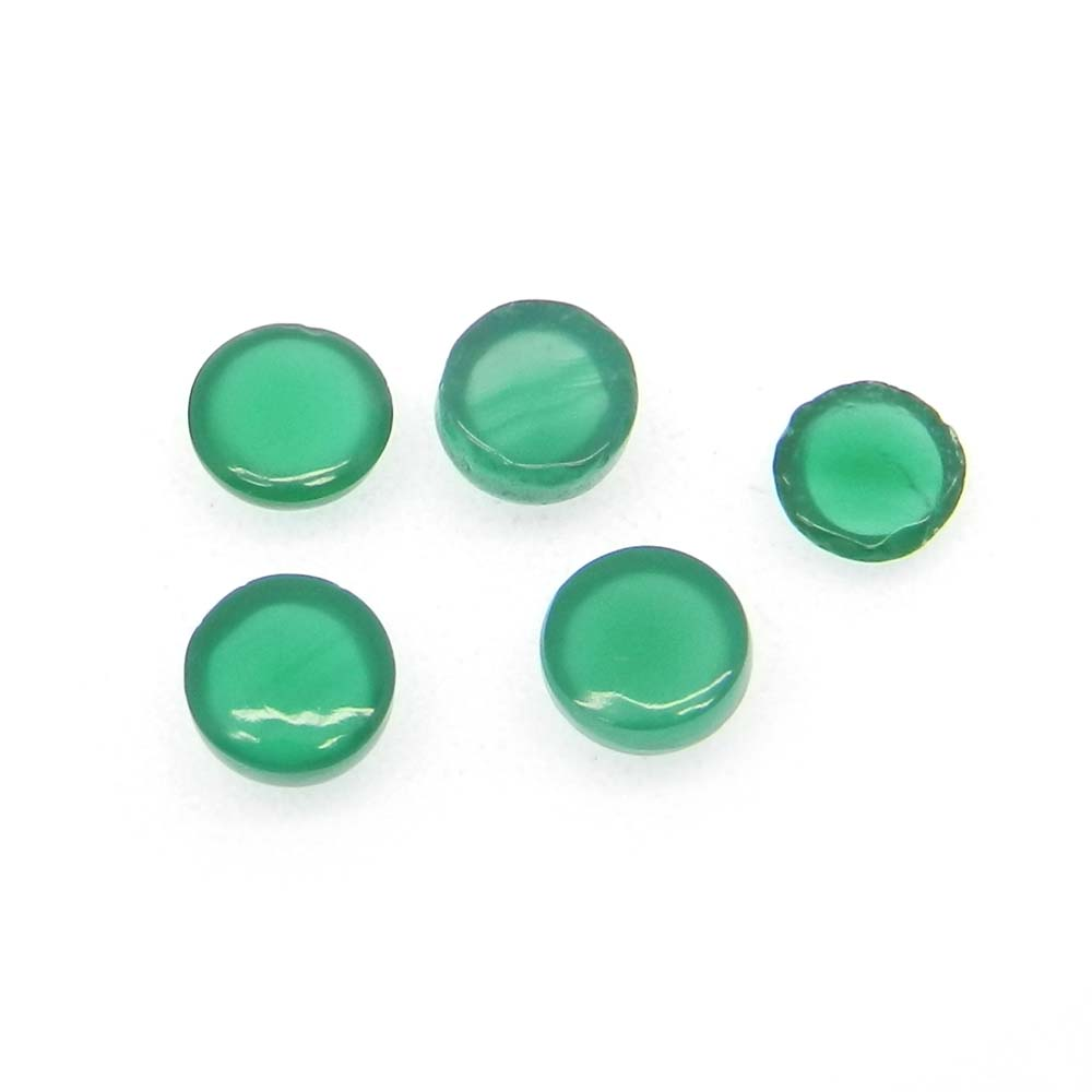 Green Onyx 5mm Round Cabochon 0.65 Cts