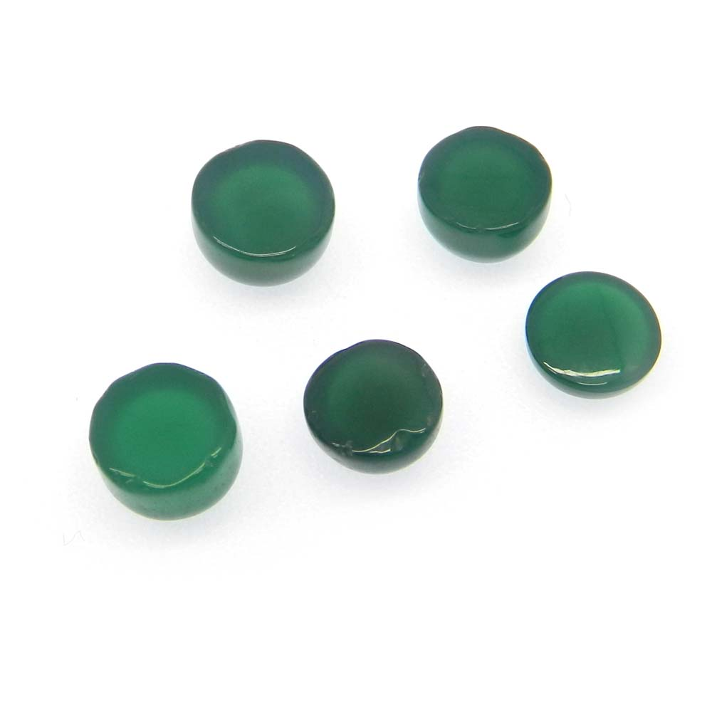 Green Onyx 7mm Round Cabochon 1.5 Cts