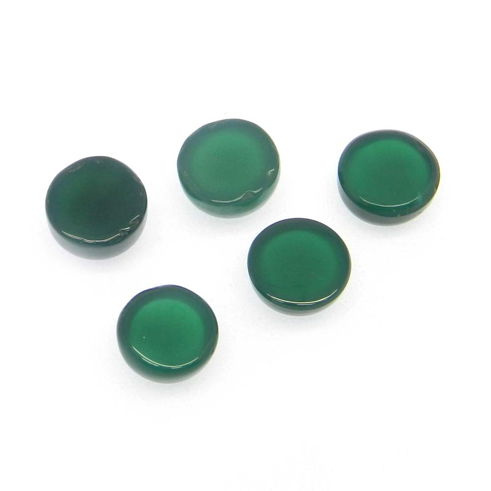 Green Onyx 8mm Round Cabochon 2.4 Cts