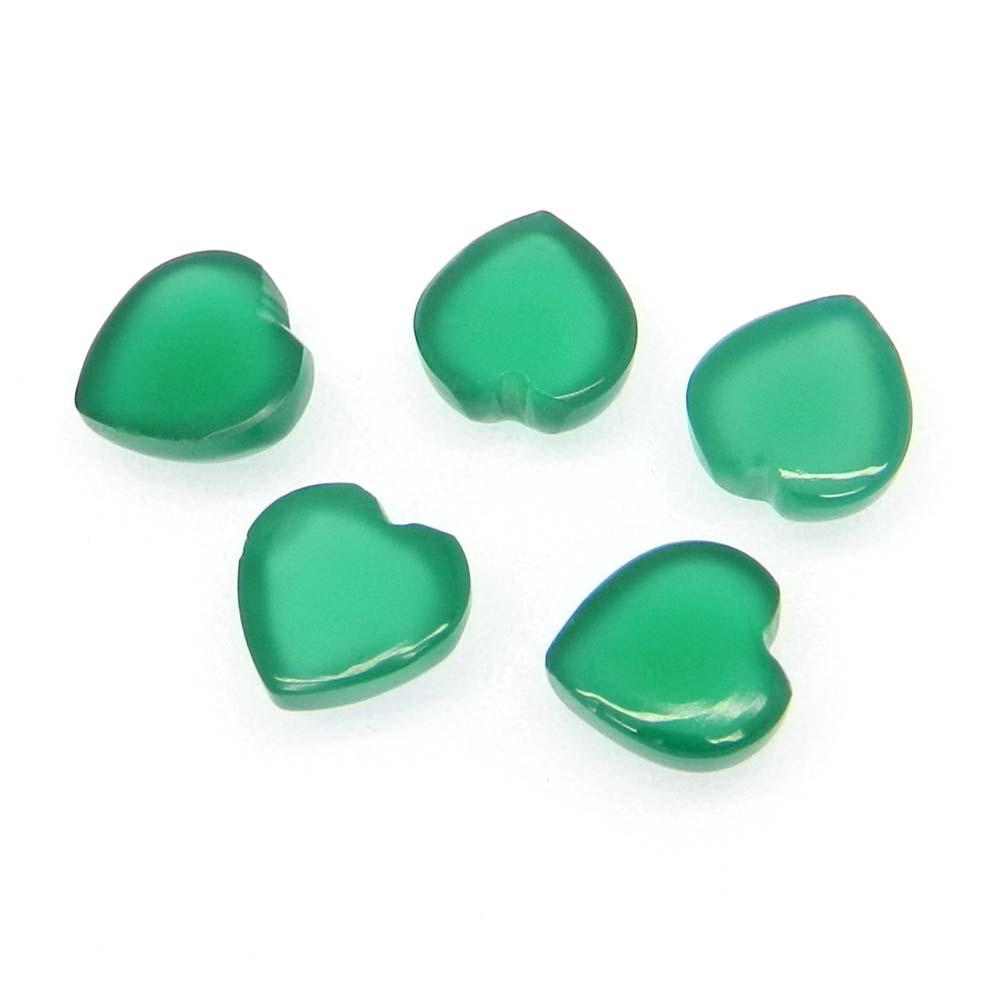 Green Onyx 8X8mm Heart Cabochon 1.92 Cts