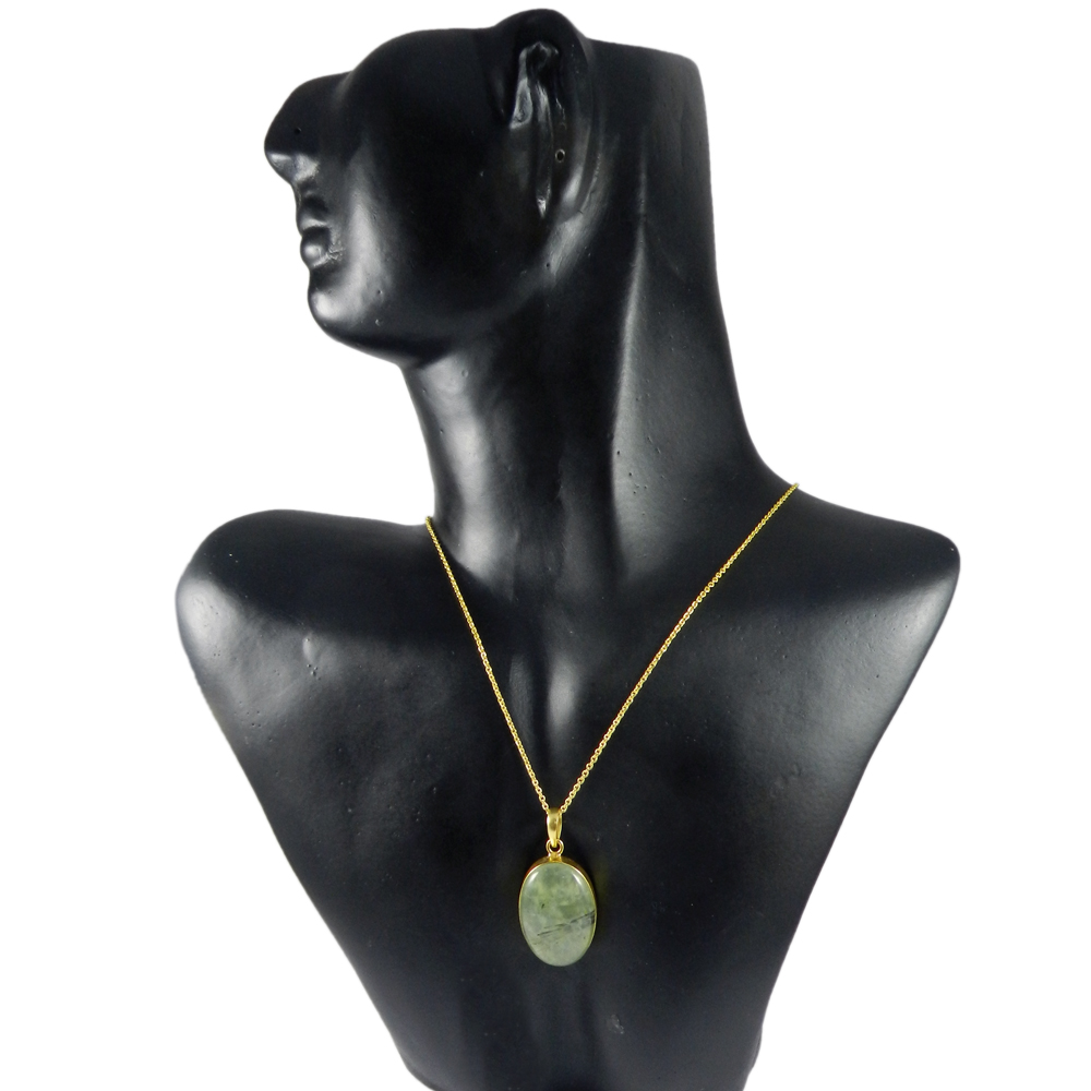 Green Rutile Quartz Oval 42mm 18k Gold Plated Bezel Pendant