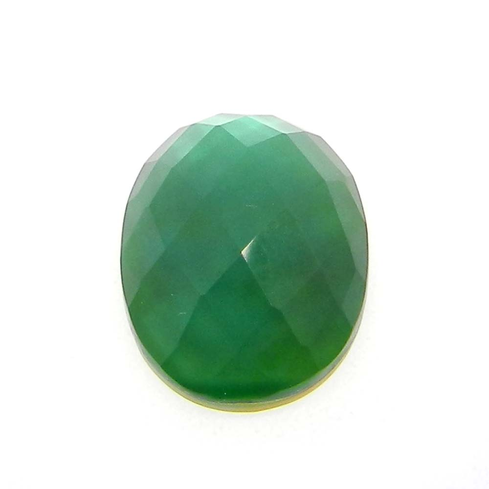 Green Turmaline And Mop Doublet 16x12mm Oval Cut 7.8 Cts