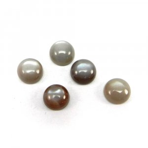 Grey Moonstone 8mm Round Cabochon 1.9 Cts