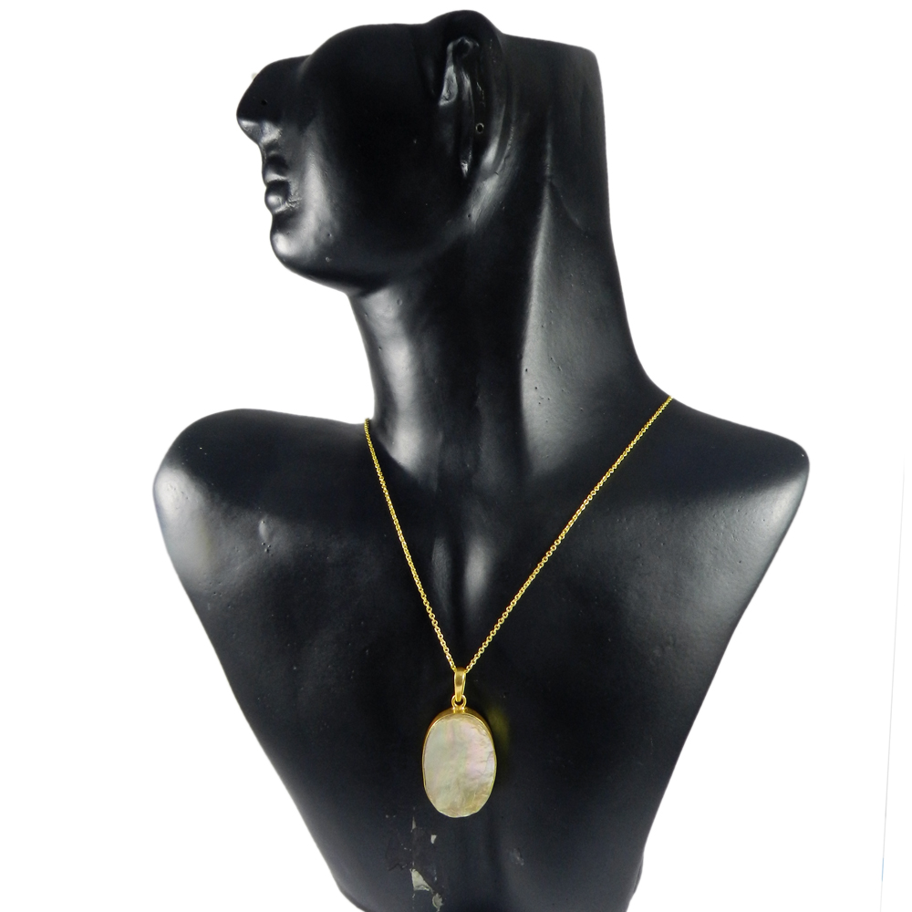 Grey Pearl Oval 45mm 18k Gold Plated Bezel Pendant