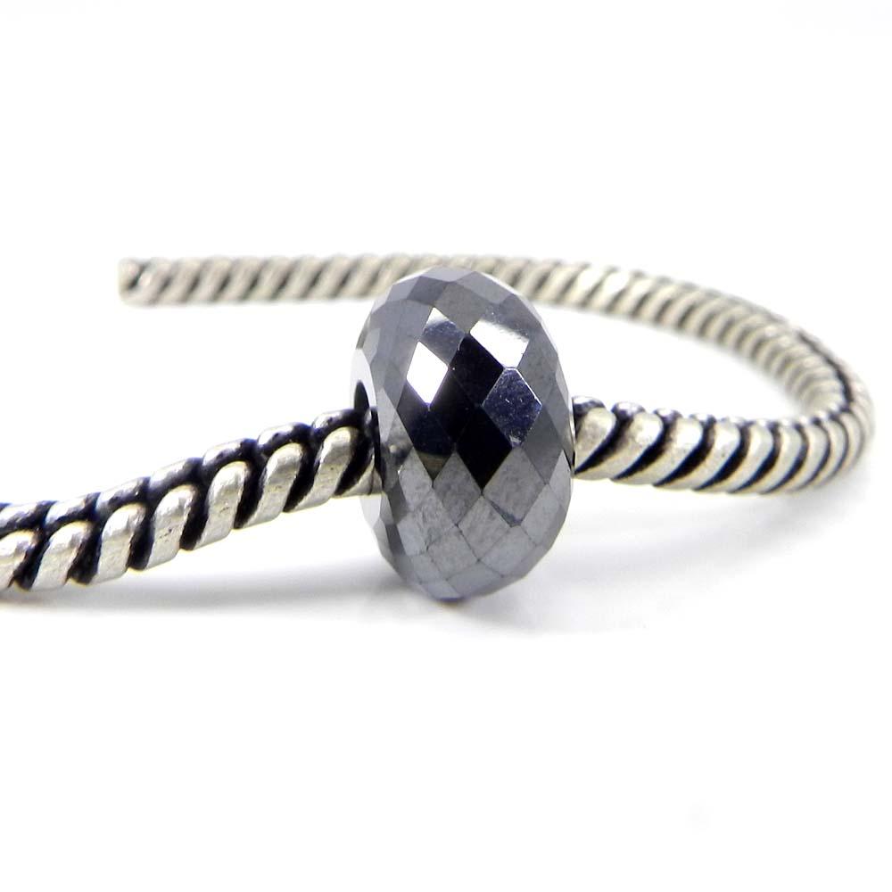 Hematite 14x8x5mm Roundel Facet Beads