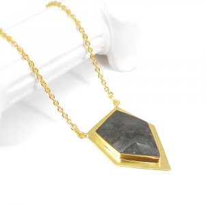High Quality Purple Labradorite 21 Inch 18K Gold Plated Fashion Necklace