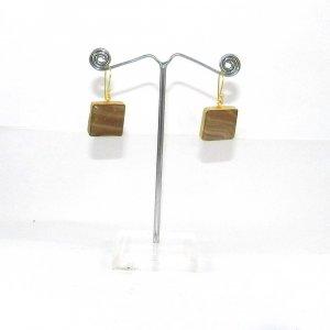 Honey Aragonite 18k Gold plated Bezel Earring