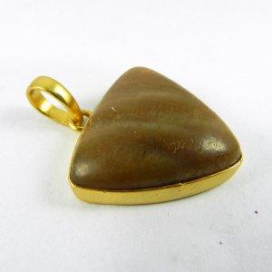 Honey Aragonite 35mm 18k Gold Plated Bezel Pendant