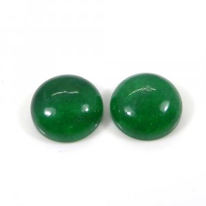 Hot Deal ! 1 Pair Green Jade 14mm Round Cabochon 18.60 Cts