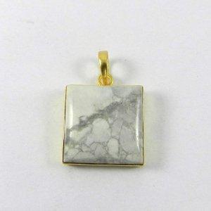 Howlite Jasper 35mm 18k Gold Plated Bezel Pendant