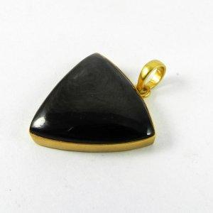 Hypersthene 41mm 18k Gold Plated Bezel Pendant