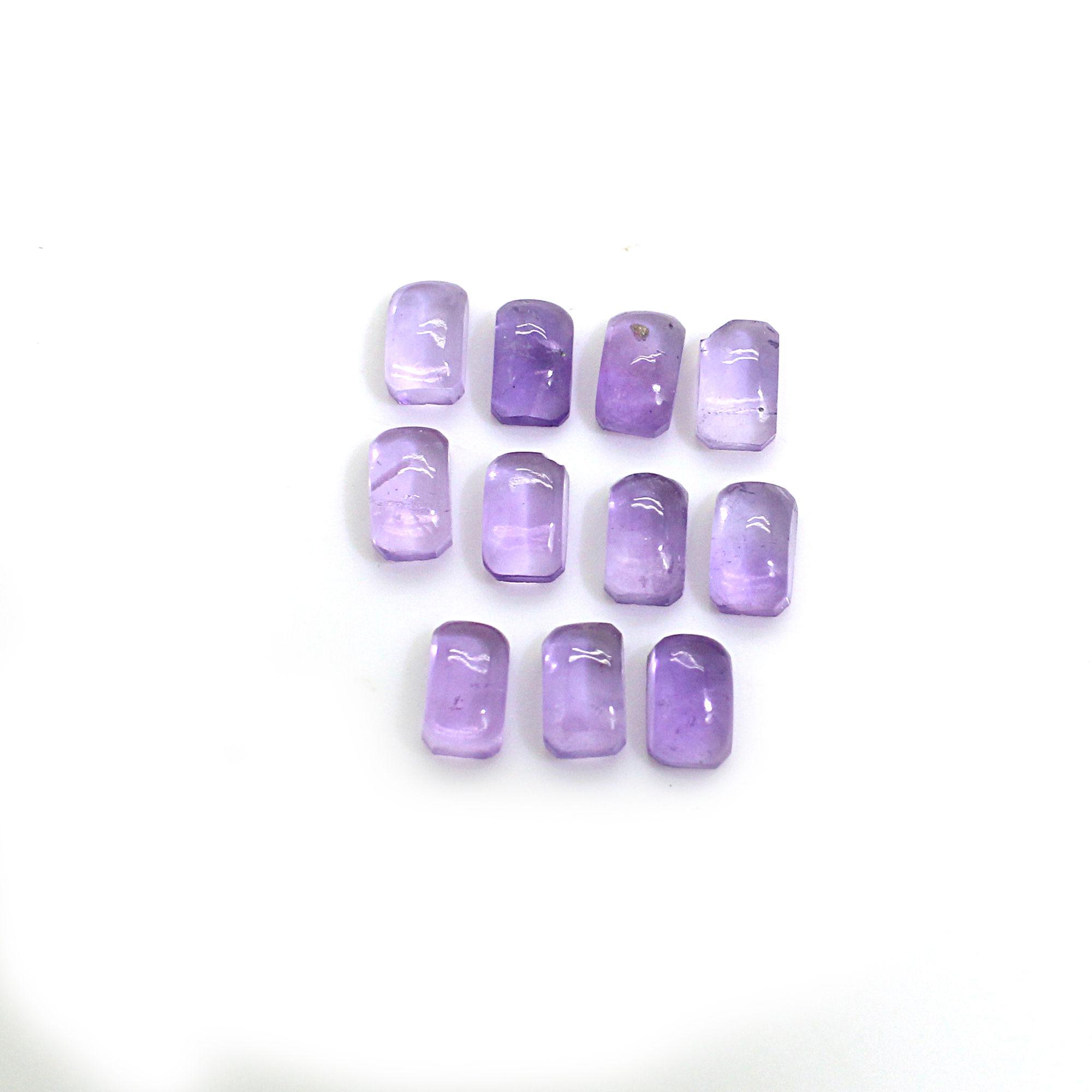 11 Pcs Natural Purple Amethyst 5x3mm Octagon Cabochon 3.05 Cts
