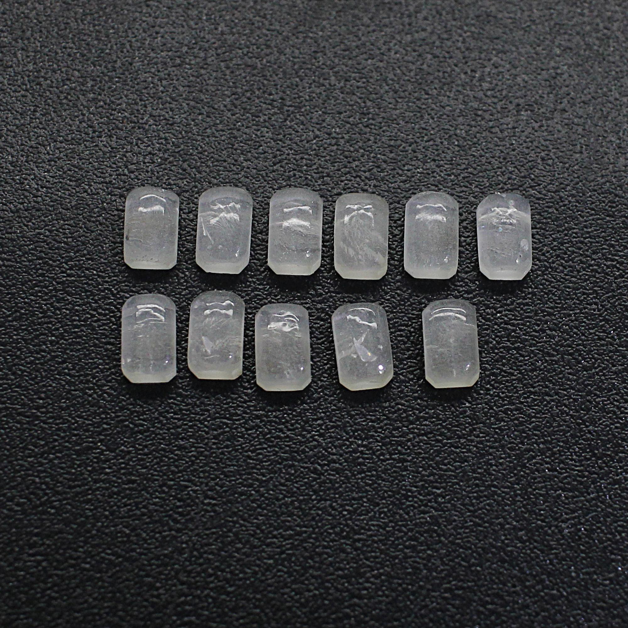11 Pcs Natural Crystal Quartz 5x3mm Octagon Cabochon 1.35 Cts