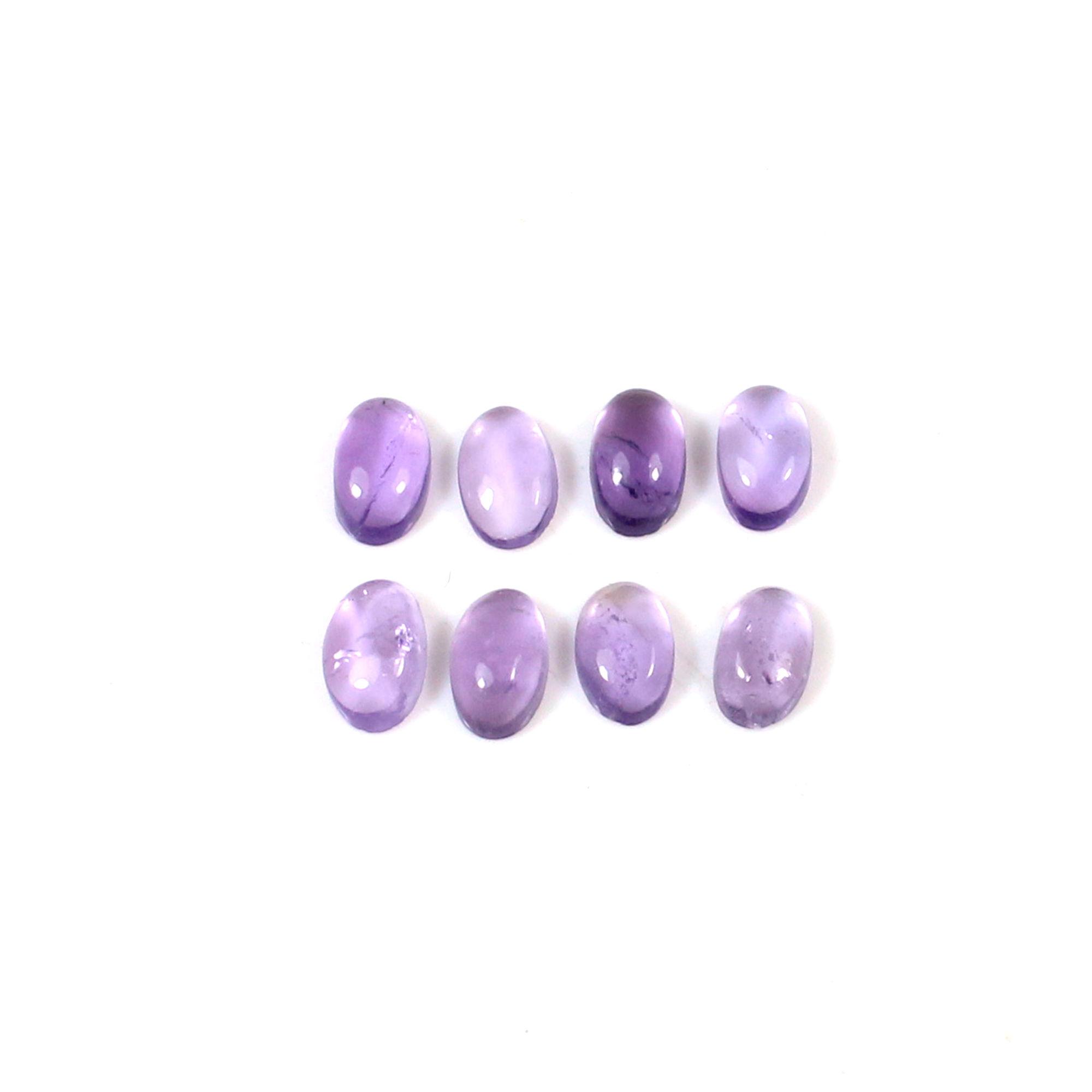 9 Pcs Natural Purple Amethyst 5x3mm Oval Cabochon 1.95 Cts