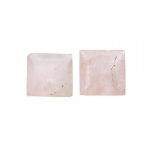 1 Pair Natural Rose Quartz 12x12mm Square Cut 13.30 Cts