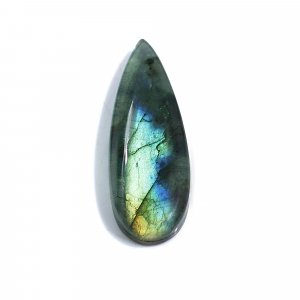 Natural Labradorite and Crystal Hydro Doublet 38x13mm Pear Cabochon 27.50 Cts