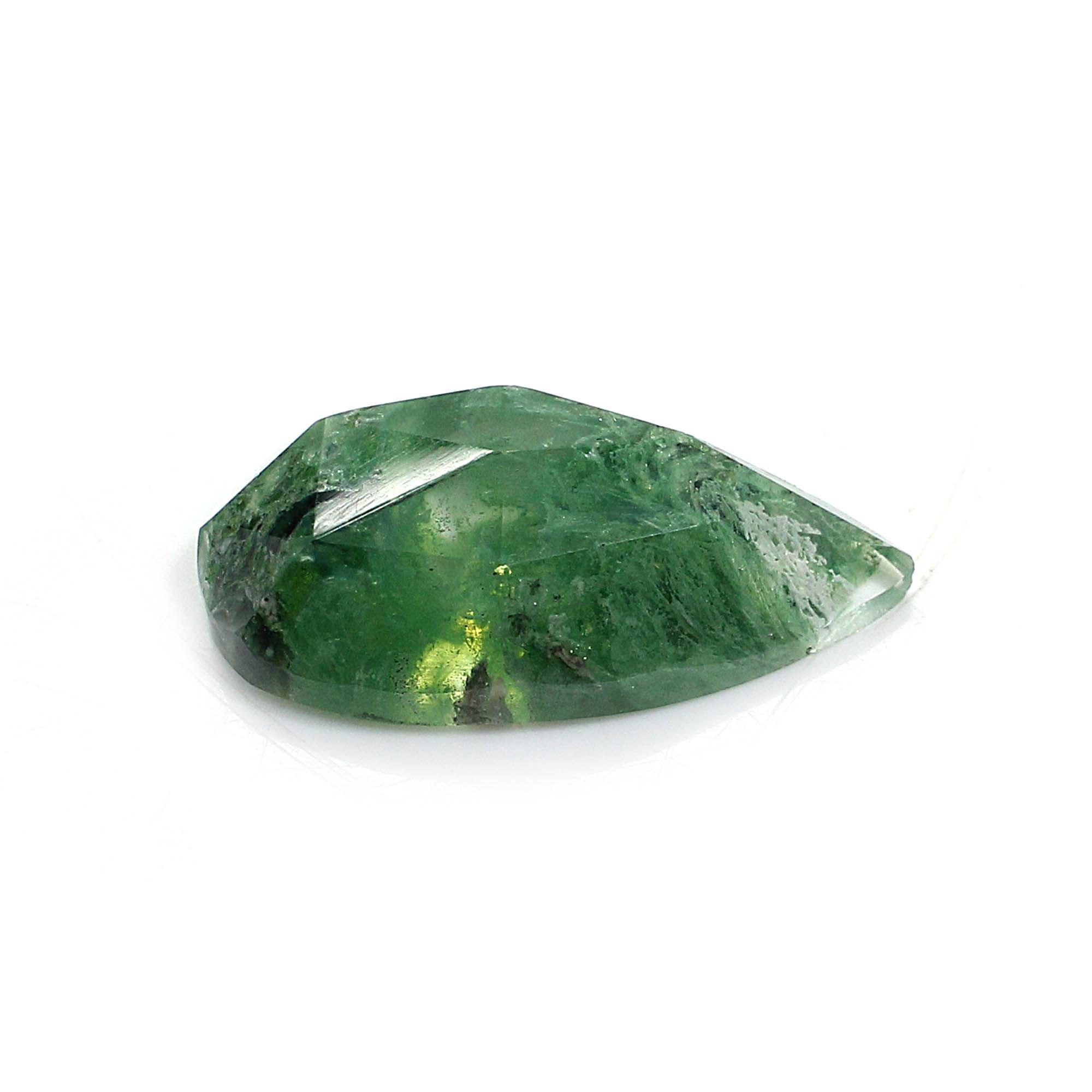 Aqua Crackle Glass 25x12mm Pear Rose Cut 12.85 Cts
