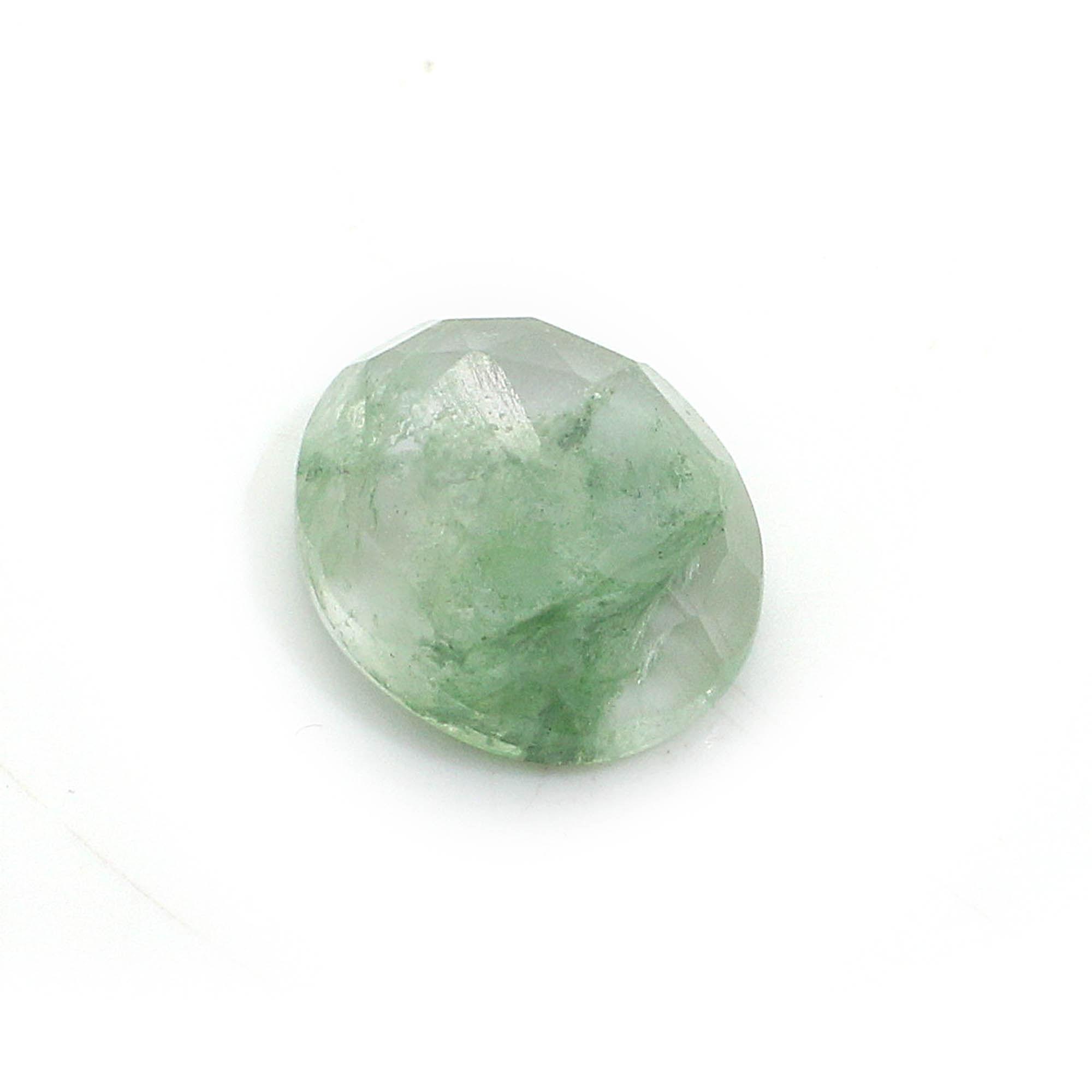Aqua Crackle Glass 12x10mm Oval Rose Cut 4.05 Cts