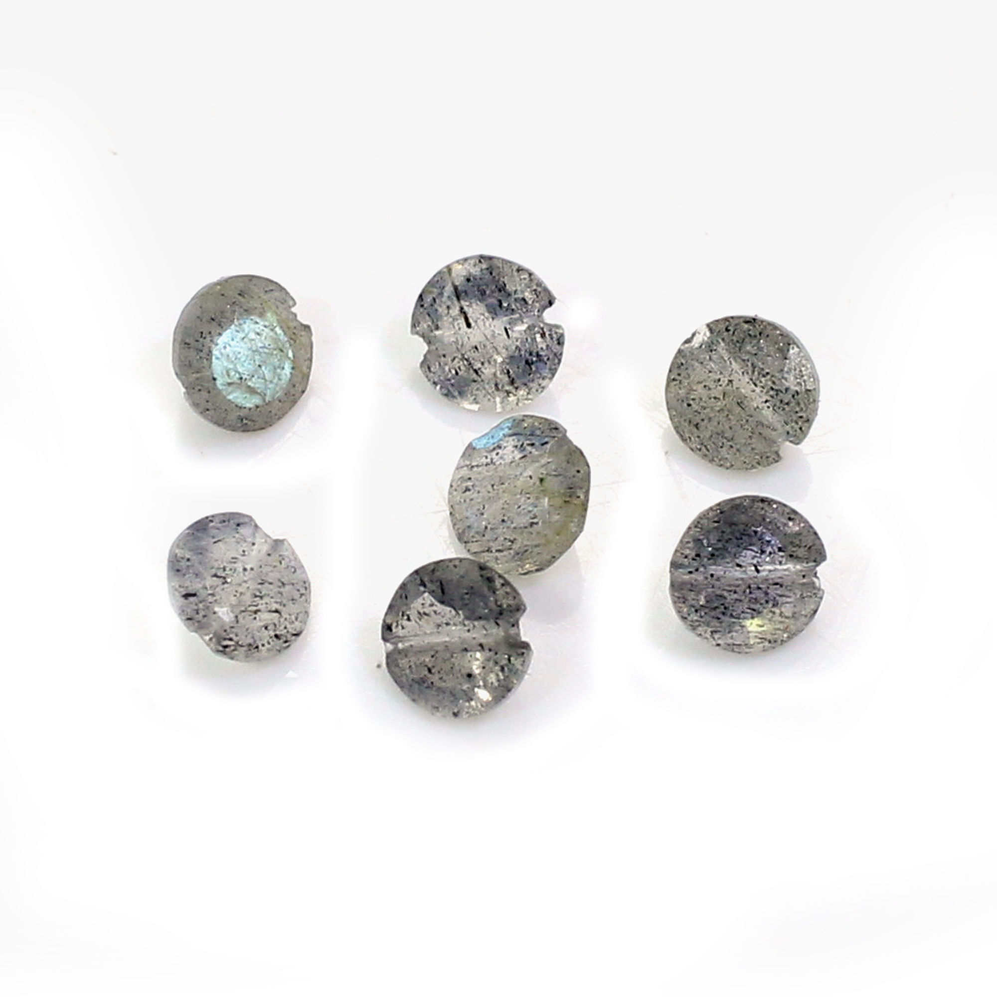 7 Pcs Natural Labradorite 4mm Round Cut with 0.50mm Drilled 2.00 Cts