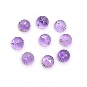 9 Pcs Natural Purple Amethyst 4mm Round Rose Cut with 0.50mm Drilled 3.00 Cts