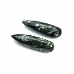 Natural Seraphinite 30x8mm Drop Smooth 28.10 Cts