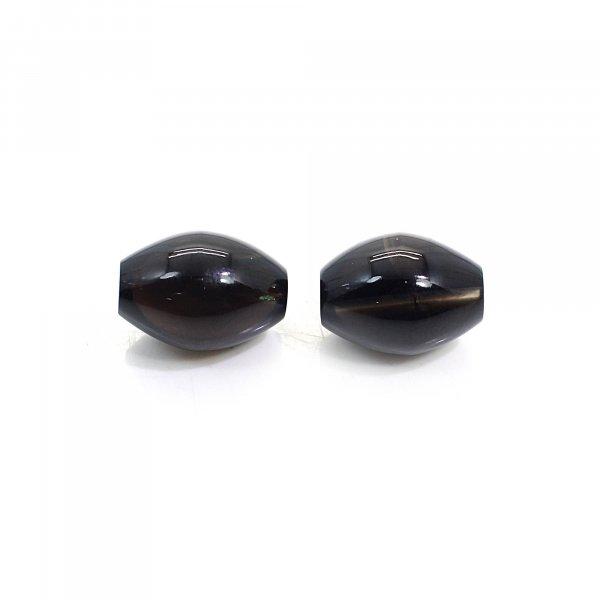 1 Pairs Natural Smoky Quartz 20x14mm Dholki Smooth Beads 60.40 Cts