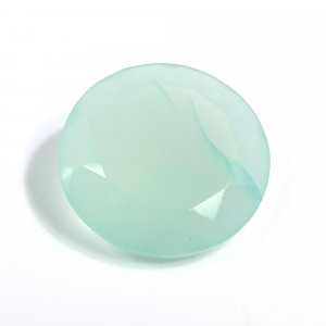 Natural Aqua Chalcedony 20mm Round Faceted Cut 17.80 Cts